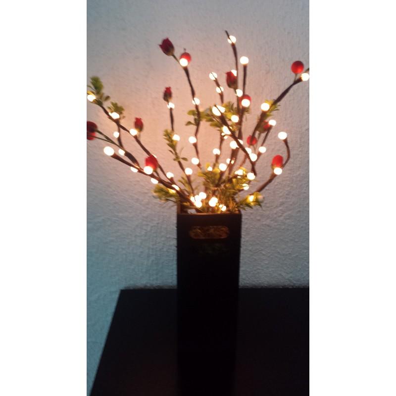 Lampara de mesa con ramas luminosas led y flores rojas for Lampara de mesa led