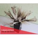 Lámpara de mesa con ramas luminosas led con alas de seda blancas