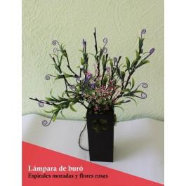 Lámpara de mesa con ramas luminosas LED con espirales moradas y flor rosa