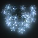 Luces Navideñas de Recarga Solar Series de 20 LEDS Solares Copos de Nieve Color Blanco Panel Solar