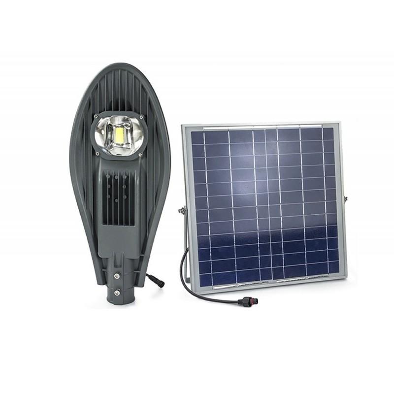 Luminaria led solar 50w de potencia con lupa para exterior for Alumbrado solar jardin